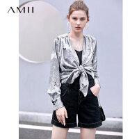 【到手价:156元】Amii极简潮流洋气个性雪纺衫女2019夏季新款V领仙鹤碎褶宽松上衣