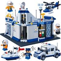六一礼物儿童拼装警局积木玩具男孩塑料拼插组装兼容乐高警察局抓小偷