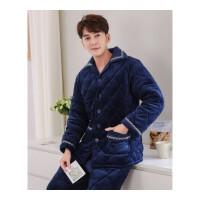 睡衣男士冬季三层加厚夹棉珊瑚绒家居服套装法兰绒中老年棉衣青年