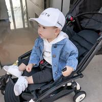男婴儿外套春装 宝宝夹克儿童衣服男童牛仔服风衣潮 蓝色 现货