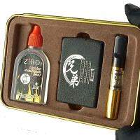 煤油打火机 煤油男士复古老式防风砂轮黑磨砂兄弟三件套装礼盒 BX -DIY刻字