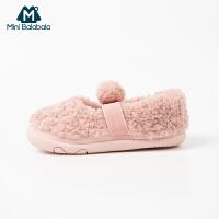 【每满299元减100元】迷你巴拉巴拉童鞋婴儿休闲鞋2019冬新款毛绒保暖防滑宝宝学步鞋