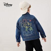 【2件4折券后价:138.7元】迪士尼童装男童秋装梭织潮酷牛仔外套2021秋新款儿童洋气上衣宝宝潮流