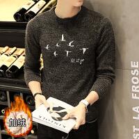 毛衣男2018新款冬季韩版加绒加厚圆领线衣青年帅气个性日系羊毛衫