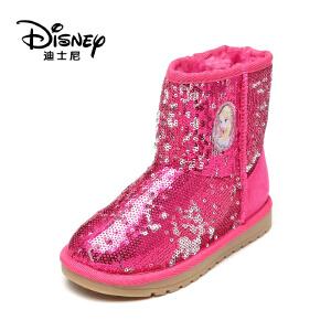 【达芙妮集团】迪士尼 御寒保暖女童鞋精美亮片雪地靴低筒短靴