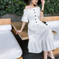 吊带连衣裙夏季2019新款女装小清新复古高腰中长款蛋糕裙子 白色
