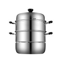 不锈钢蒸锅三层3层蒸馒头的蒸笼加厚1二2层家用煤气灶用电磁炉