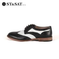 St&Sat/星期六春款牛皮低跟系带休闲男鞋SS51123209