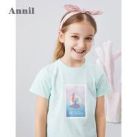 【2件3折价:59.7】迪士尼女童T恤2020夏季新款美人鱼洋气安奈儿童装女孩体恤酷上衣