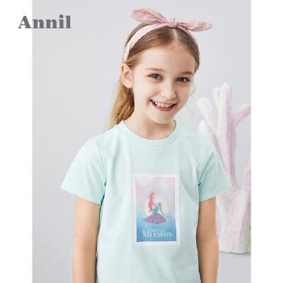 【活动价:99.5】迪士尼女童T恤2020夏季新款美人鱼洋气休闲上安奈儿童装女童T恤