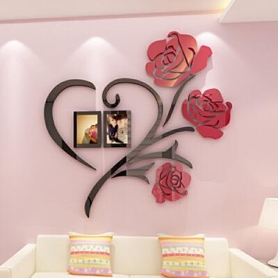 婚房装饰品卧室亚克力墙贴3d立体房间布置客厅背景墙上贴画电视墙  超 定制类,定金类SKU,拍前请联系客服,以客服为准。