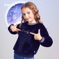 【秒杀价:90】安奈儿童装女童2019冬季新款舒适法兰绒撞色套头上衣