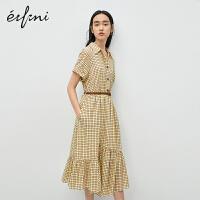 伊芙丽连衣裙女2020年新款夏季仙气荷叶边收腰格纹撞色雪纺裙子