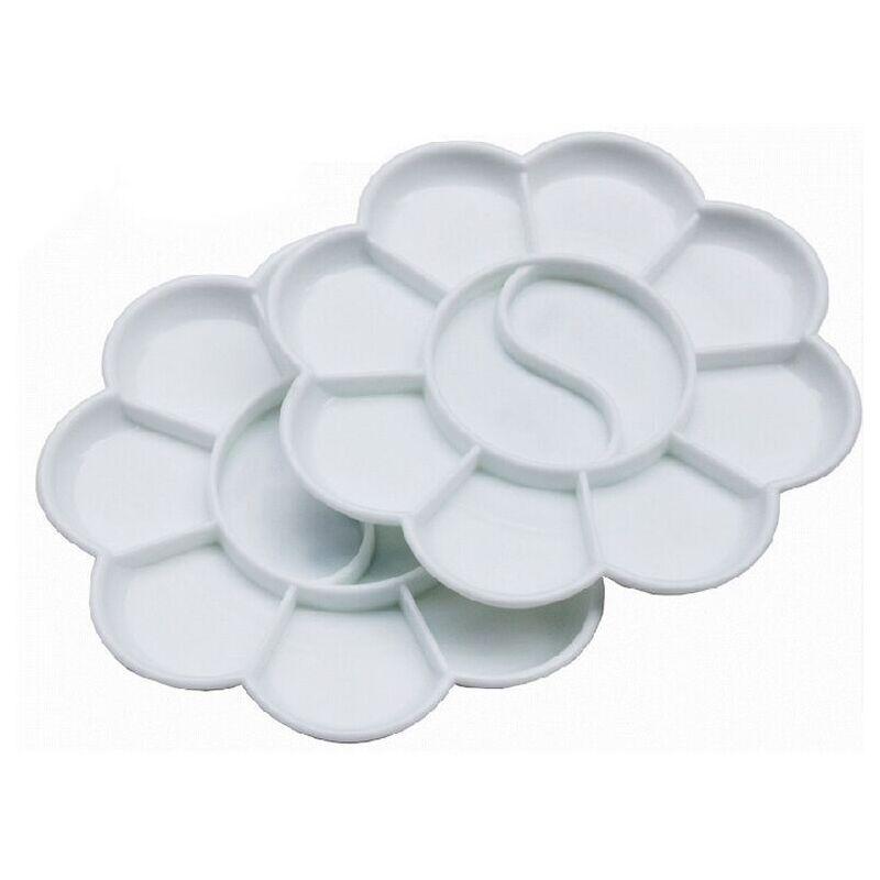 梅花调色盘 10格梅花型塑料调色碟 小号调色板调色盒水粉颜料
