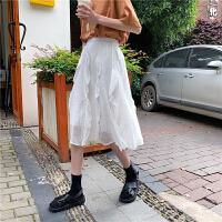 夏季新款中长款裙子法式桔梗裙半身裙女装2019韩版ins火的A字裙 均码