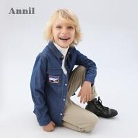 【活动价:166】安奈儿童装男童长袖衬衣2020春季新款男宝宝中大童休闲外穿衬衫