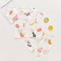 婴儿内衣套装薄款夏季棉短袖开衫儿童空调服男女宝宝纱布睡衣 水果拼盘 73cm