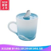 原创手工陶瓷鲸鱼可爱马克杯 咖啡杯子带盖 情侣创意少女礼物一对 波澜 海豹杯(单个)