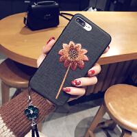 iPhone6/7/8挂绳手机壳6s苹果7plus硅胶刺绣套X简约个性女款潮