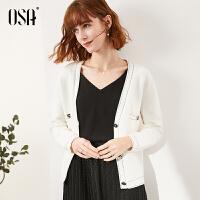 【折后叠券价:160】OSA欧莎白色开衫外套女针织宽松慵懒2020年春季新款小香风针织衫