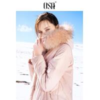 【2.5折到手价:370】OSA欧莎粉色轻薄羽绒服女中长款2019新款时尚连帽白鸭绒外套宽松