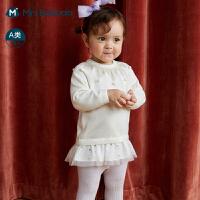 迷你巴拉巴拉婴儿毛衣2020秋季女宝宝甜美动物全棉毛衣柔软