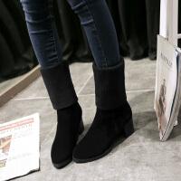 彼艾2017秋冬新款短靴毛线中筒女靴韩版粗跟弹力靴高跟防水台马丁靴潮女靴子