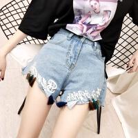 牛仔短裤女夏季新款高腰显瘦宽松阔腿裤不规则毛边字母流苏热裤潮 浅蓝色 浅蓝色