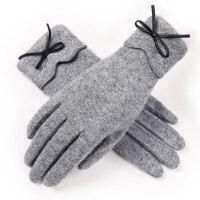 羊毛手套女冬季韩版触屏羊绒手套秋冬天加绒加厚保暖骑车开车手套 均码