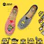 JM快乐玛丽布鞋夏季神偷奶爸小黄人条纹麻底套脚个性帆布鞋
