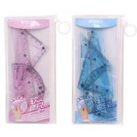 晨光0467软套尺 可弯曲尺子 软尺直尺三角尺套装 粉色/蓝色随机发