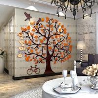 3d墙贴装饰亚克力温馨大树客厅幼儿园花卉大贴画背景墙 红叶 黑色树 2