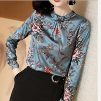印花重磅真丝衬衫女长袖春装美欧菲桑蚕丝上衣气质衬衣女 蓝花色