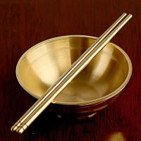 铜碗 黄铜碗筷子勺双层餐具套装铜材质供水家居饰品摆件