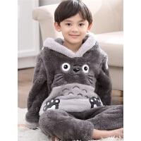 儿童珊瑚绒睡衣秋冬季男童法兰绒家居服中大童小男孩套装