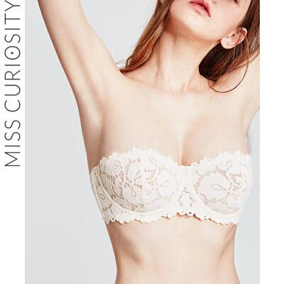 好奇蜜斯蕾丝内衣女无肩带聚拢防滑性感胸罩抹胸式防走光文胸薄款 抹胸款设计,可拆卸肩带,时髦有型