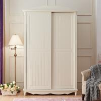 衣柜韩式田园衣柜衣柜白色实木趟门衣柜推拉门衣柜卧室家具 2门 组装