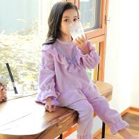 儿童睡衣珊瑚绒女童法兰绒秋冬季厚款中大童小女孩公主家居服套装