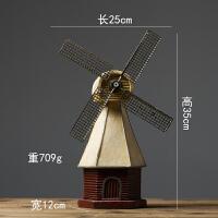 创意复古摆设酒柜荷兰风车模型小摆件家居客厅北欧店铺美式装饰品
