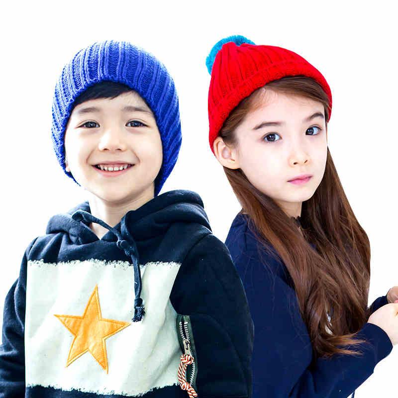 韩国kk树儿童帽子男童套头帽女童毛线针织帽2-4-6-8岁小孩秋冬季