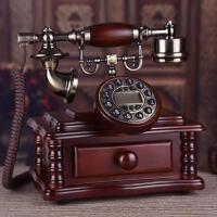 高档实木电话仿古电话机复古欧式电话机时尚创意古董家用办公座机