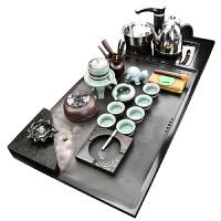 整套乌金石茶具套装家用功夫茶盘简约紫砂流水雾化茶台全自动