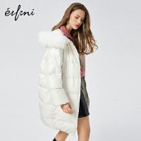 伊芙丽新款冬装大衣宽松中长款大毛领连帽羽绒外套女1AA980711