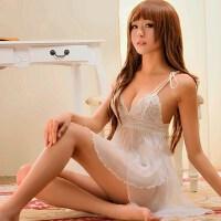 情趣内衣诱惑家居薄纱透明吊带睡裙性感情趣sao女睡衣 白色 均码 M(体重55KG以下)