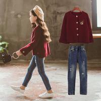 童装2018新款中大女童秋装套装韩版潮衣洋气开衫牛仔裤两件套时髦