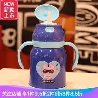 儿童保温杯带吸管水壶卡通可爱宝宝男女幼儿园不锈钢带手柄水杯子