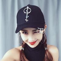韩版帽子女夏天棒球帽学生铁环嘻哈鸭舌帽街头潮款太阳遮阳帽 半圆挂LOVE黑色 可调节