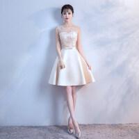 香槟伴娘服2018新款韩版夏季伴娘礼服毕业小礼服短款修身姐妹团女