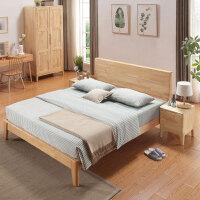 北欧风实木床单人床1.2米1.5米双人床1.8米日式现代简约橡胶木床