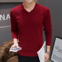 毛衣男韩版秋季新款潮流青年男士V领修身长袖针织衫